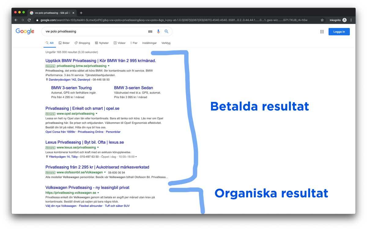 Skärmdump med en resultatsidan (SERP) från Google
